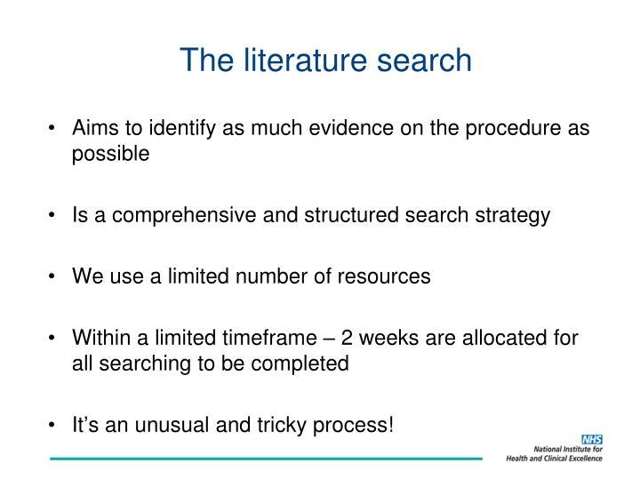 The literature search