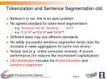 tokenization and sentence segmentation ctd