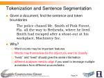 tokenization and sentence segmentation