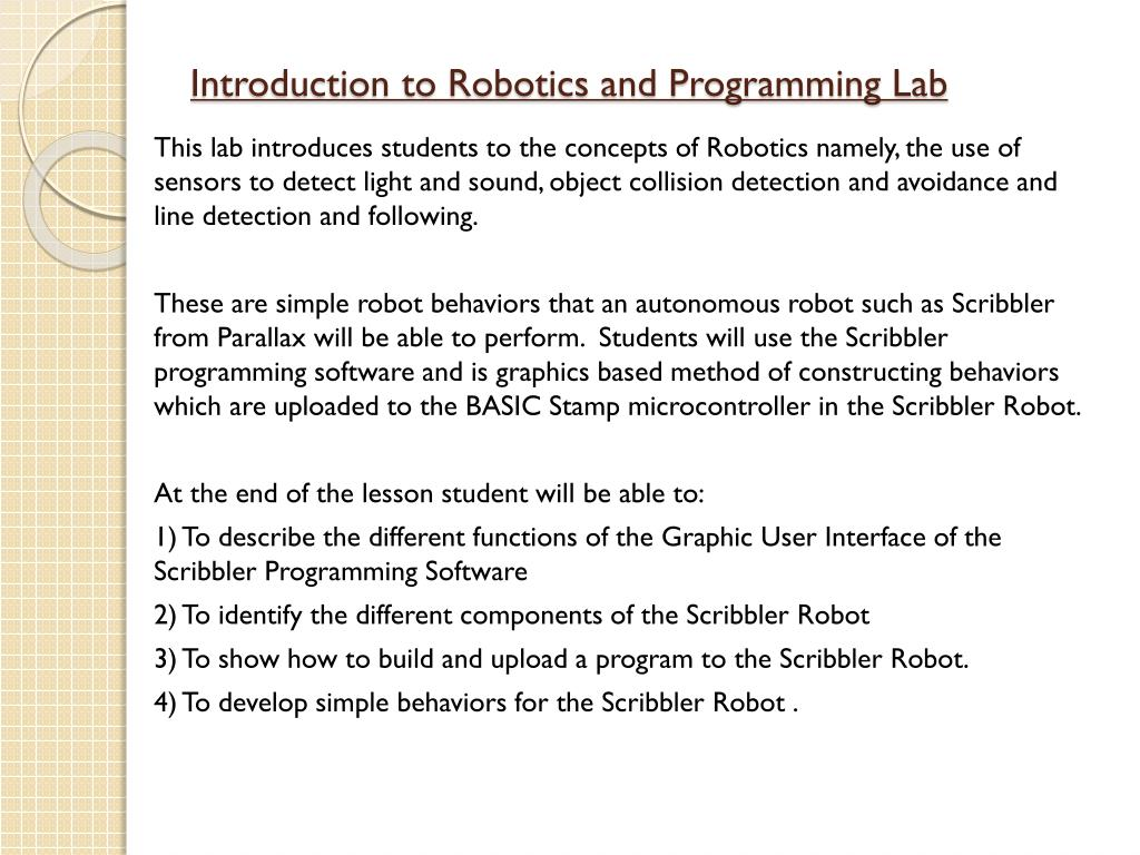 PPT - Introduction to Robotics and Programming Lab