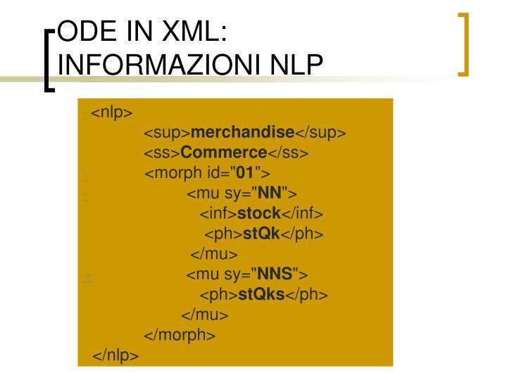 ODE IN XML: