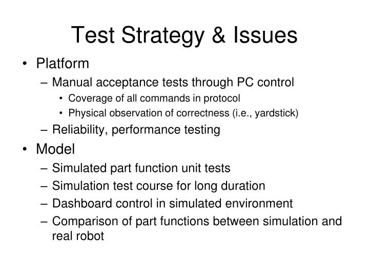 Test Strategy & Issues