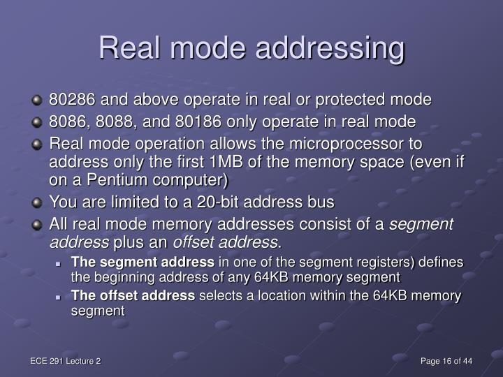 Real mode addressing