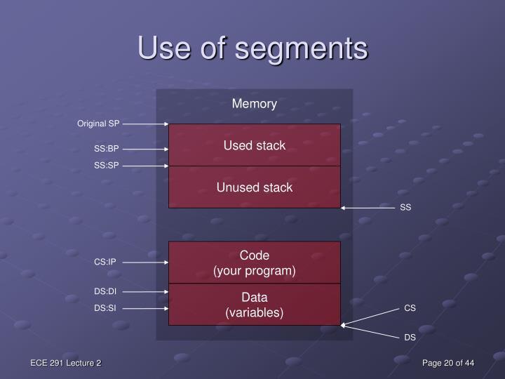 Use of segments