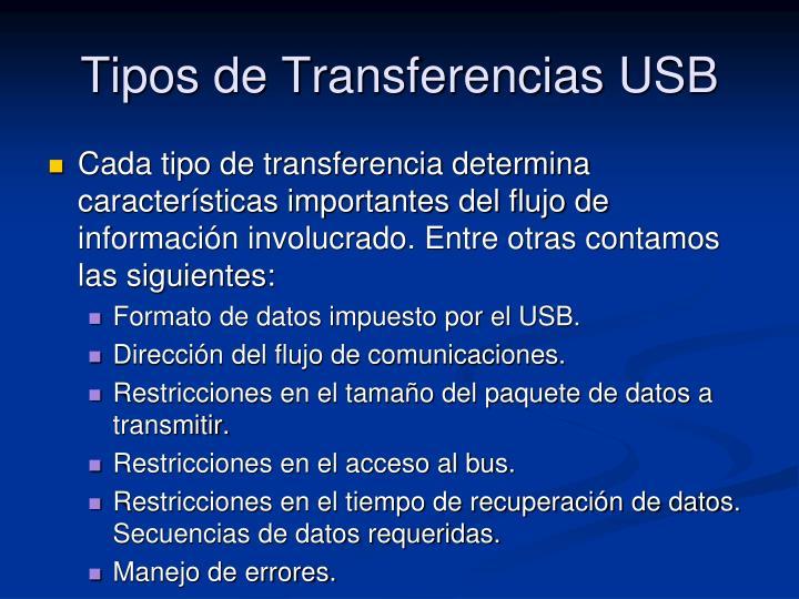 Tipos de Transferencias USB