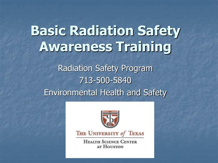 basic radiation safety awareness training n.