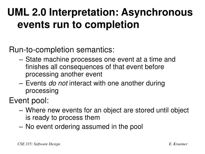 UML 2.0 Interpretation: Asynchronous events run to completion