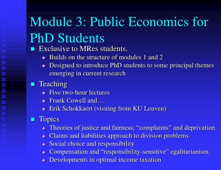Module 3: Public Economics for PhD Students