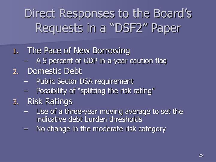 """Direct Responses to the Board's Requests in a """"DSF2"""" Paper"""