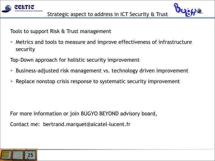 Strategic aspect to address in ICT Security & Trust