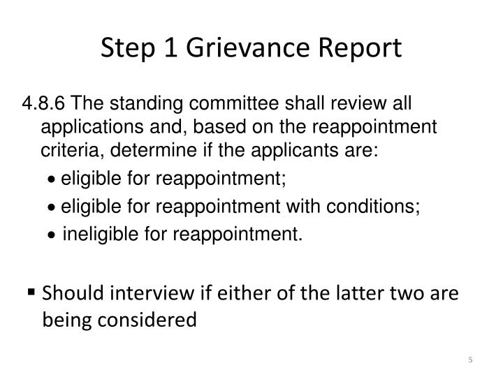 Step 1 Grievance Report