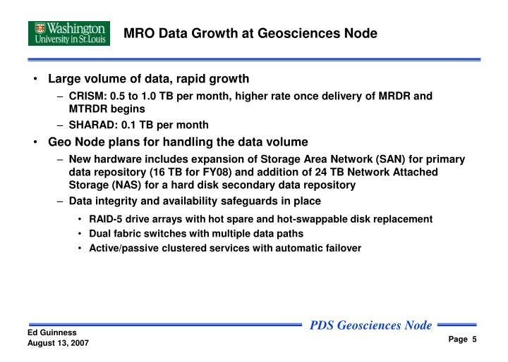 MRO Data Growth at Geosciences Node