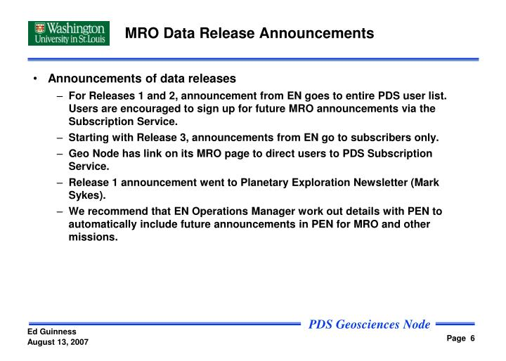 MRO Data Release Announcements
