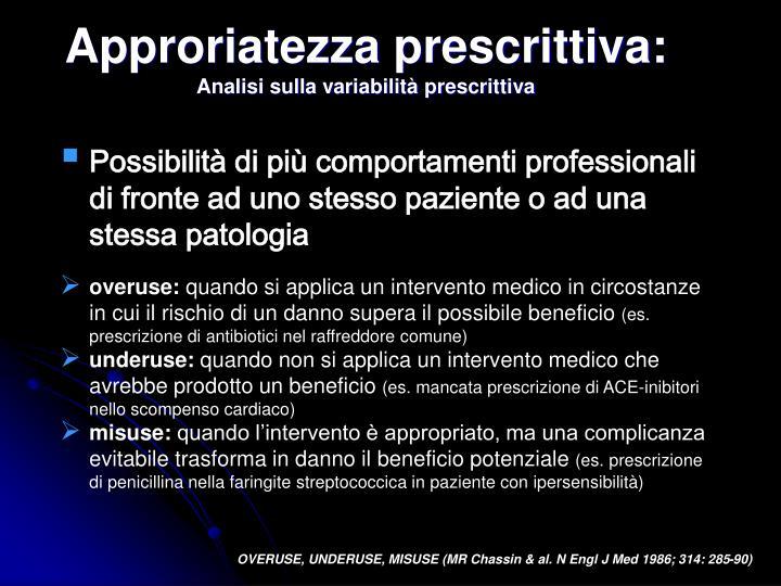 Approriatezza prescrittiva: