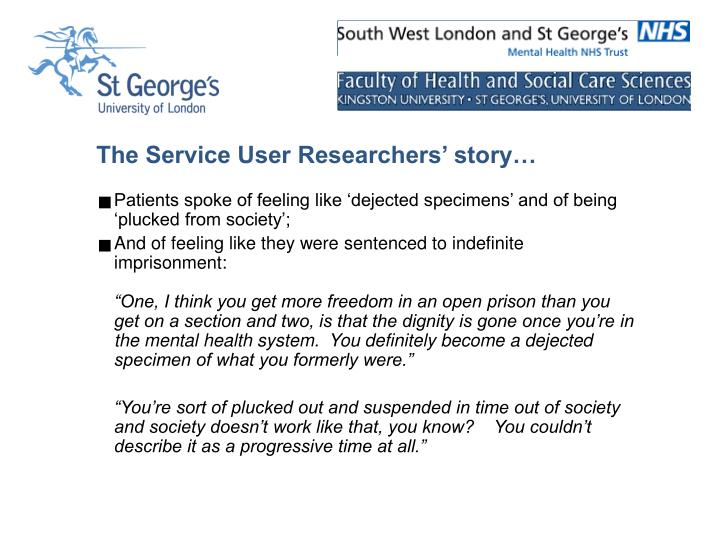The Service User Researchers' story…