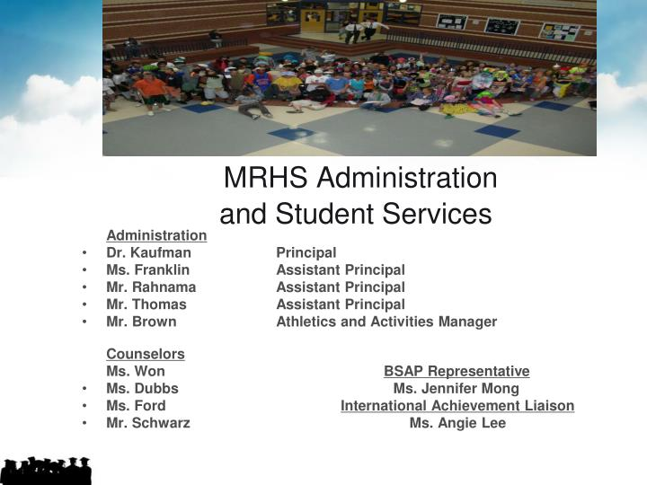 Mrhs administration and student services