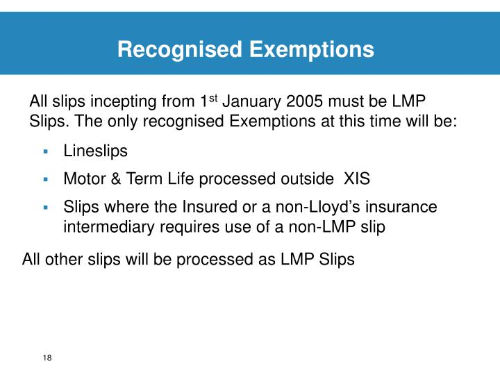 Recognised Exemptions