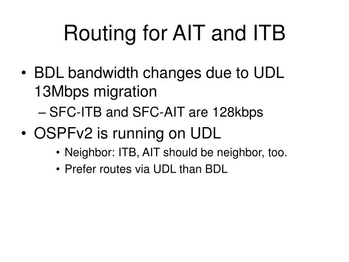 Routing for AIT and ITB