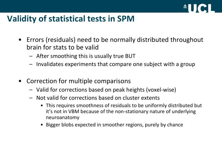 Validity of statistical tests in SPM