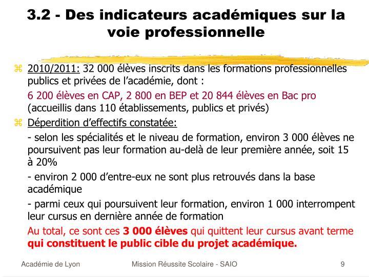 3.2 - Des indicateurs académiques sur la voie professionnelle