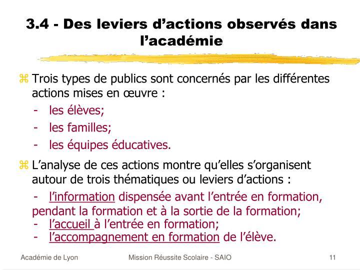 3.4 - Des leviers d'actions observés dans l'académie