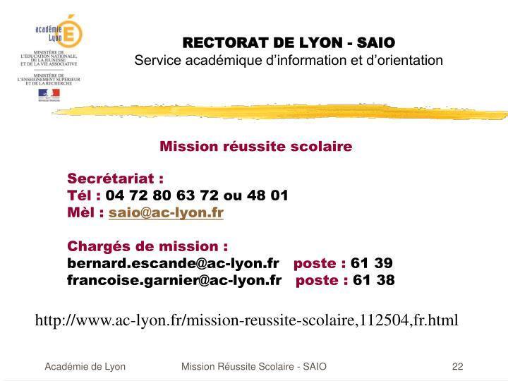 RECTORAT DE LYON - SAIO