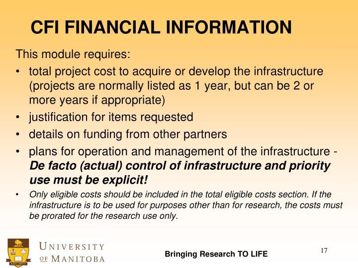 CFI FINANCIAL INFORMATION
