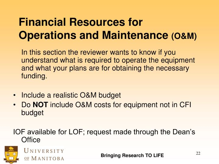 Financial Resources for Operations and Maintenance