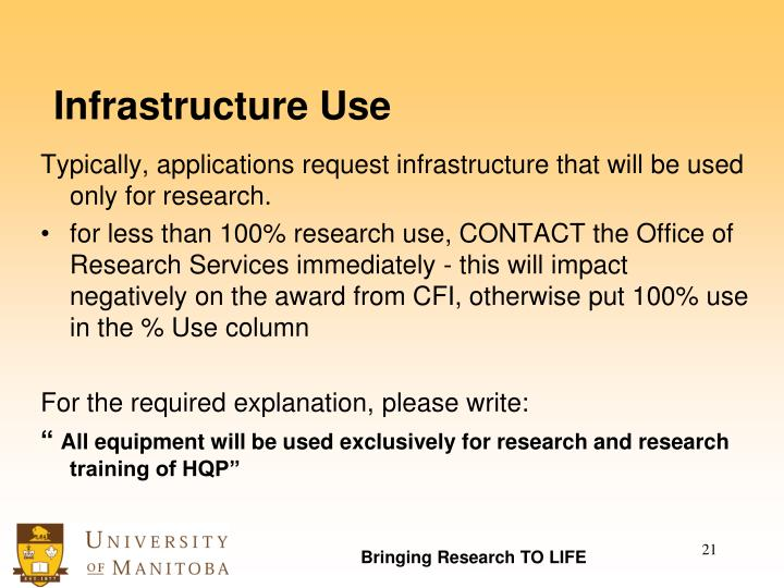 Infrastructure Use