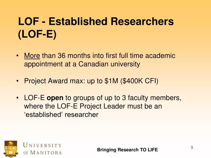LOF - Established Researchers (LOF-E)