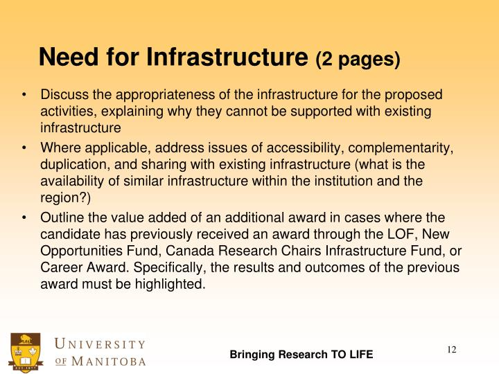Need for Infrastructure
