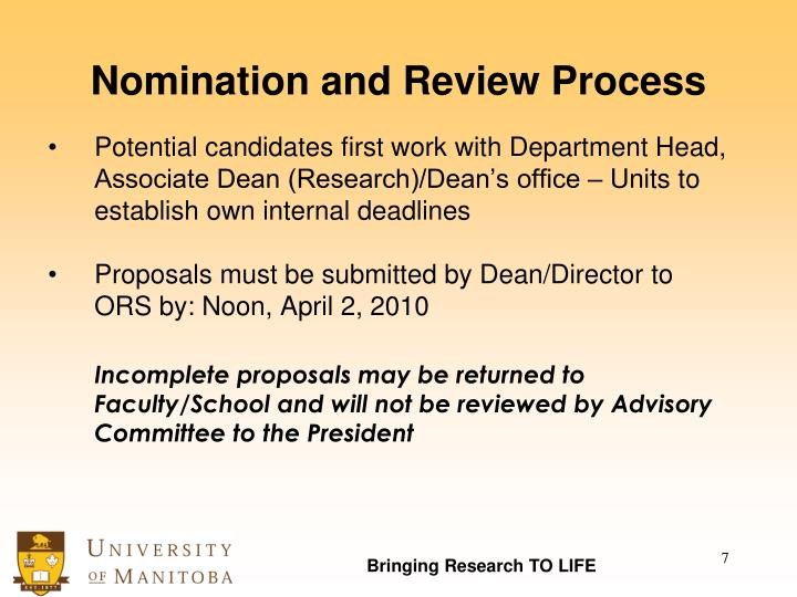Nomination and Review Process