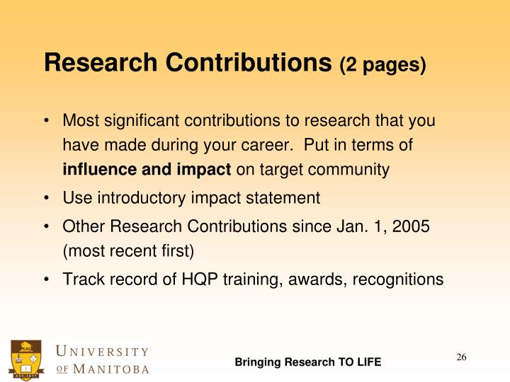Research Contributions