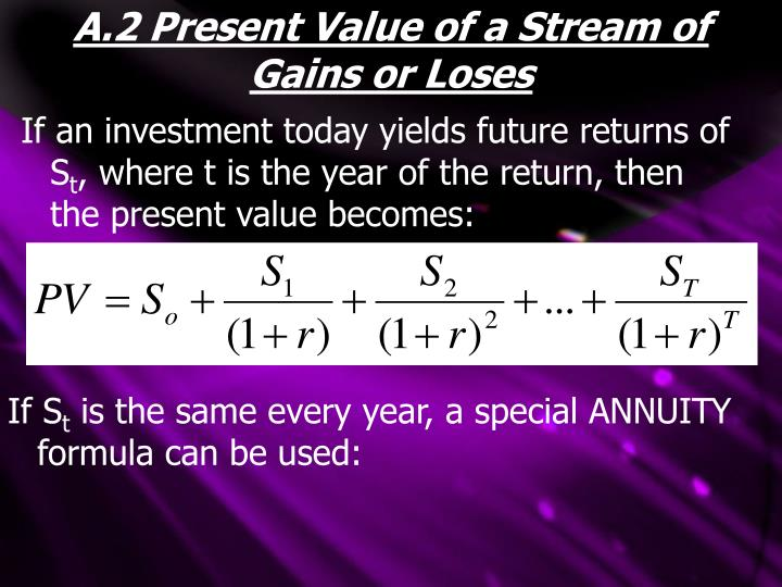 A.2 Present Value of a Stream of Gains or Loses