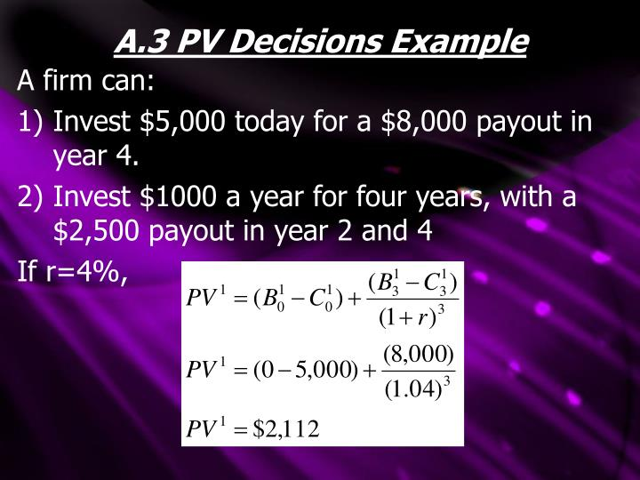 A.3 PV Decisions Example
