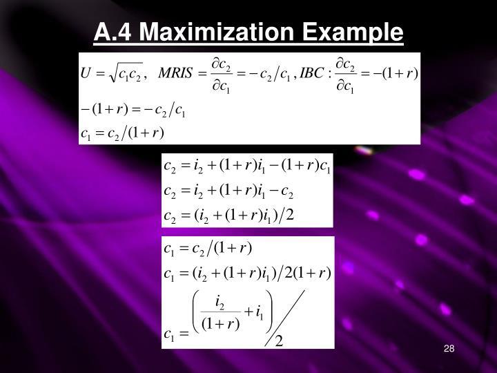 A.4 Maximization Example