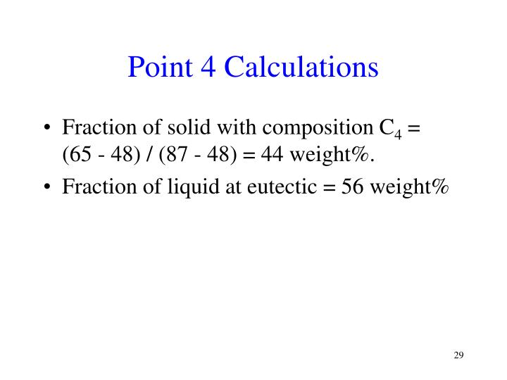 Point 4 Calculations