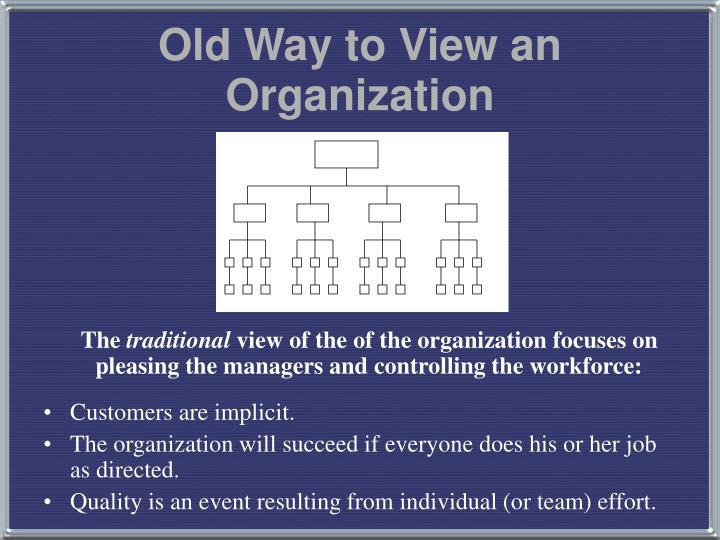 old way to view an organization n.