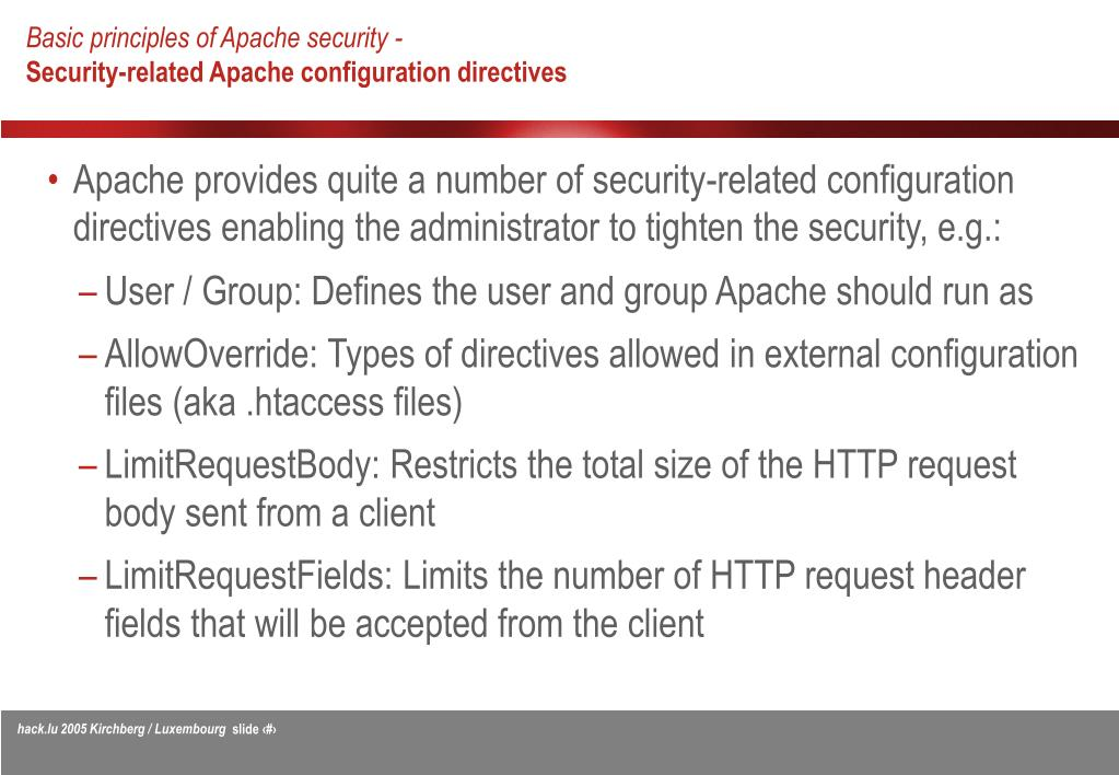 PPT - Apache security - Improving the security of your web