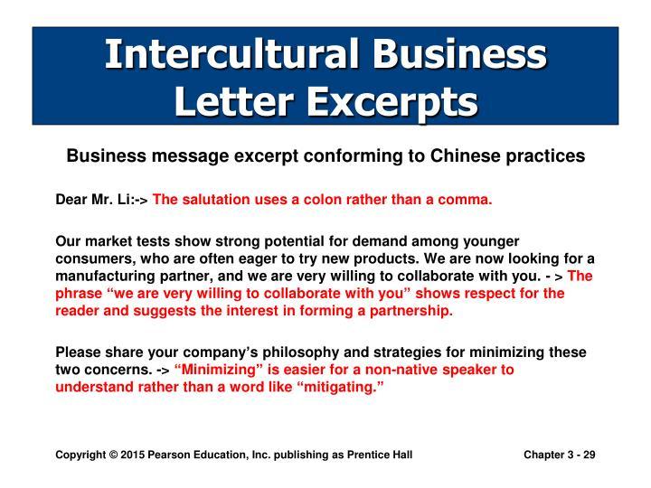 Intercultural Business Letter Excerpts