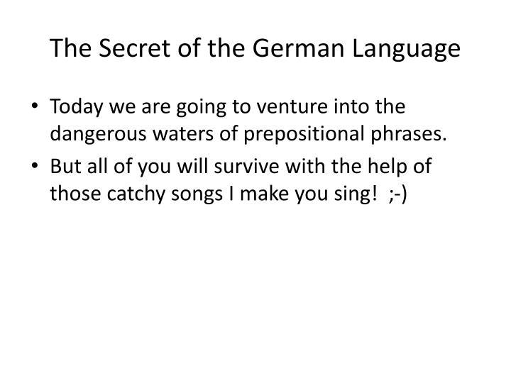 The secret of the german language1