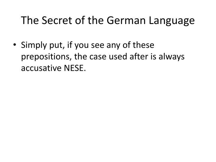 The Secret of the German Language