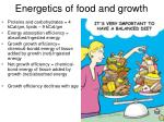 energetics of food and growth