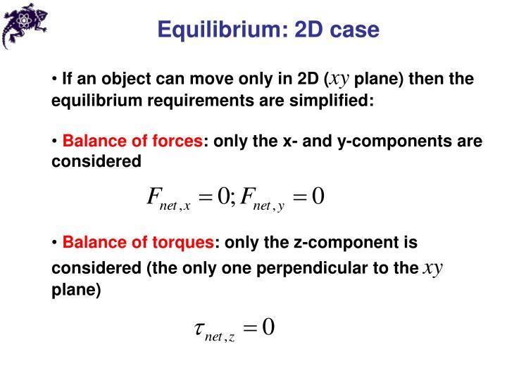Equilibrium: 2D case