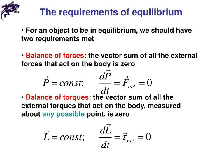 The requirements of equilibrium