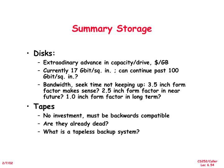 Summary Storage