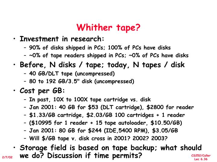 Whither tape?