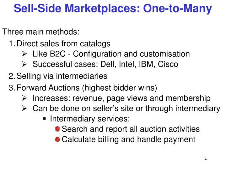 catalogue based sell side marketplace E_business chapter 4 a web-based marketplace in which one company sells to many business buyers from e- sell-side e-marketplace d.