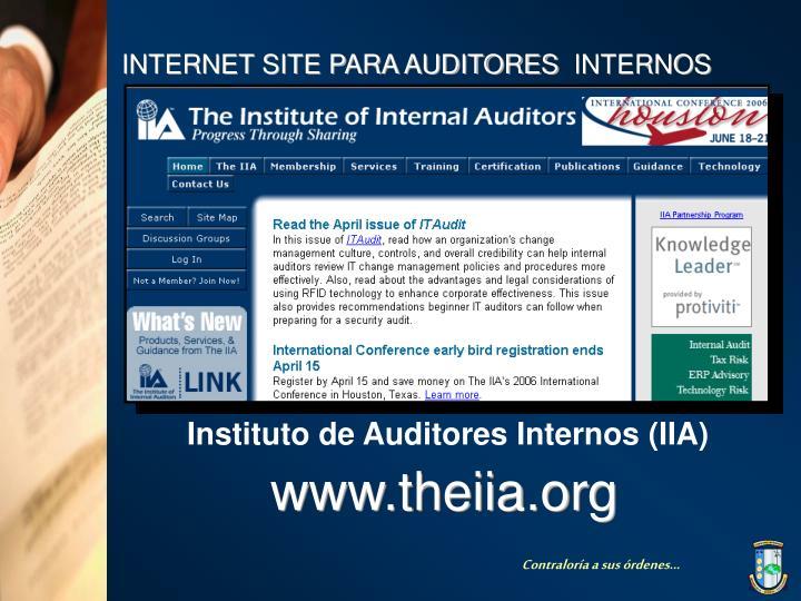 INTERNET SITE PARA AUDITORES