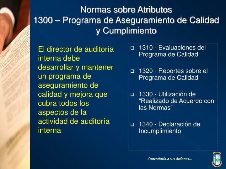 1310 - Evaluaciones del Programa de Calidad